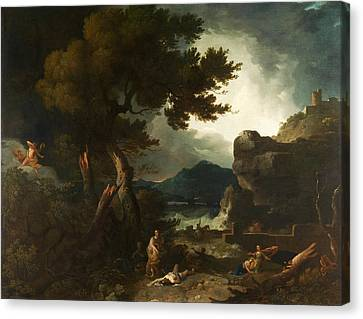 The Destruction Of Niobes Children Canvas Print by Richard Wilson