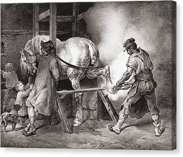 The Farrier, From Etudes De Cheveaux Canvas Print by Theodore Gericault