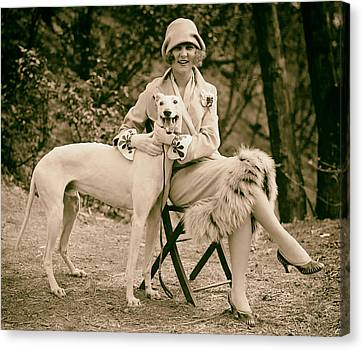 The First Miss America Margaret Gorman And Her Pet Greyhound 1925 Canvas Print