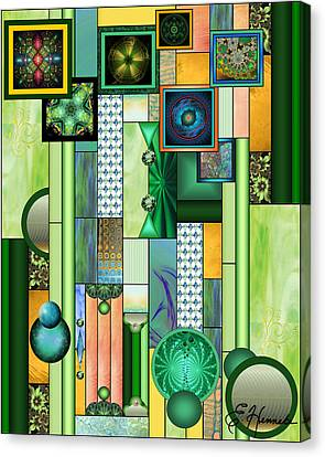 Turquoise Stained Glass Canvas Print - The Gallery by Ellen Henneke