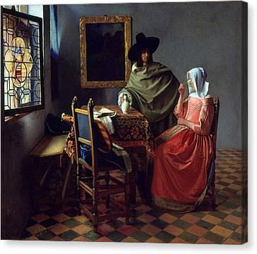 The Glass Of Wine Canvas Print by Johannes Vermeer