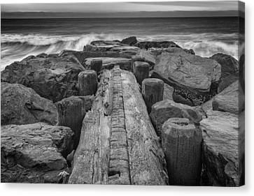 The Jetty In Black And White Canvas Print by Rick Berk
