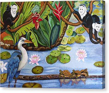 The Lotus Pond Hand Embroidery Canvas Print by To-Tam Gerwe