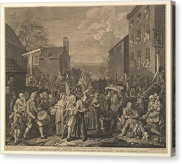 The March To Finchley A Representation Canvas Print by after William Hogarth