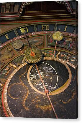 Gothic Germany Canvas Print - The Medieval Astronomic Clock, The Only by Martin Zwick