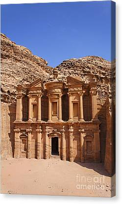 The Monastery Sculpted Out Of The Rock At Petra In Jordan Canvas Print by Robert Preston