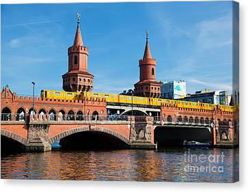Bahn Canvas Print - The Oberbaum Bridge In Berlin Germany by Michal Bednarek
