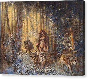 Snow Scene Canvas Print - The Pack by Tom Shropshire