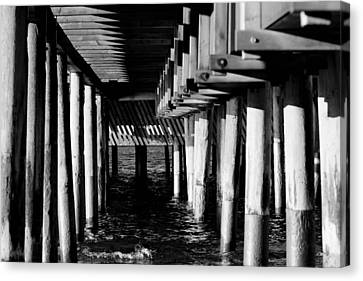 Sky Line Canvas Print - The Pier In Black And White by Tommytechno Sweden