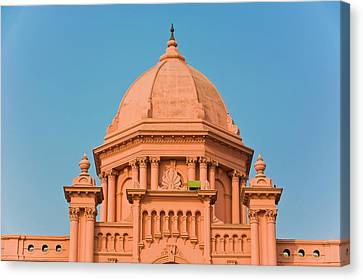 Michael Canvas Print - The Pink Colored Ahsan Manzil Palace by Michael Runkel