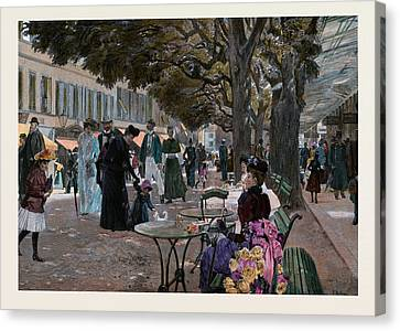 The Promenade Carlsbad, Karlsbad. Promenade Under The Trees Canvas Print