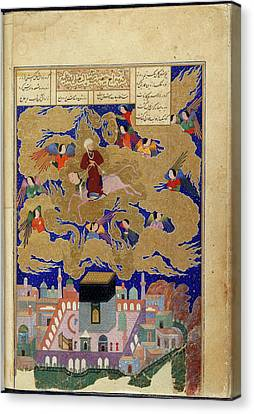 The Prophet On Buraq Canvas Print by British Library