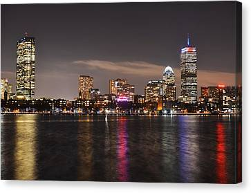 The Prudential Lit Up In Red White And Blue Canvas Print by Toby McGuire