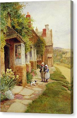 Stone Path Canvas Print - The Puppy by Arthur Claude Strachan