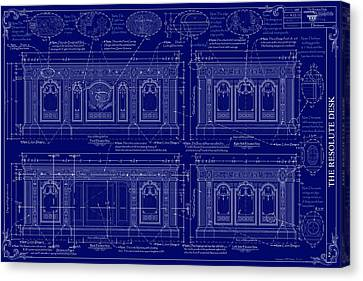 The Resolute Desk Blueprints - Dark Blue Canvas Print by Kenneth Perez