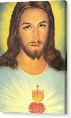 The Sacred Heart Of Jesus Canvas Print by French School