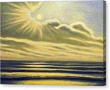 The Sea Clouds And Sun Canvas Print by Algirdas Lukas
