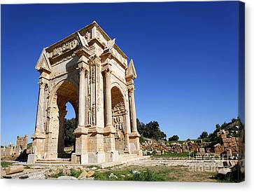 The Septimus Severus Arch At Leptis Magna In Libya Canvas Print by Robert Preston