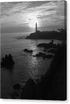 The Sun Is Setting Behind The Pigeon Point Light Station Near Ano Nuevo Canvas Print by Scott Lenhart