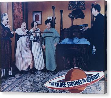 1960 Movies Canvas Print - The Three Stooges In Orbit by Official Three Stooges