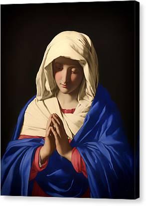 The Virgin In Prayer Canvas Print by Mountain Dreams