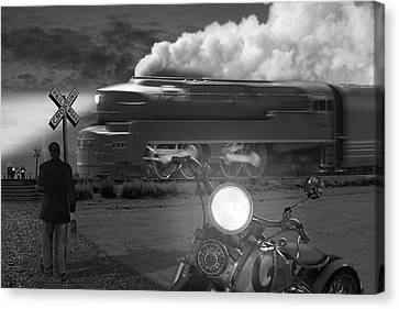 Train Tracks Canvas Print - The Wait by Mike McGlothlen