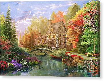 The Water Lake Cottage Canvas Print by Dominic Davison
