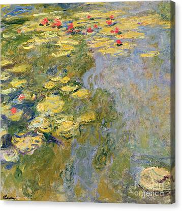 Impressionist Landscape Canvas Print - The Waterlily Pond by Claude Monet