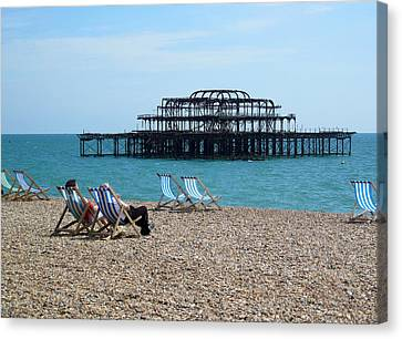 The West Pier Brighton Canvas Print by Mike Lester