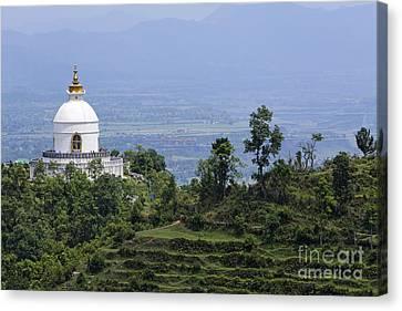 The World Peace Pagoda Pokhara Canvas Print by Robert Preston