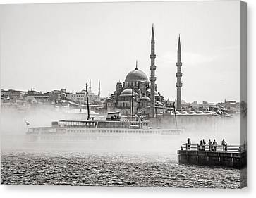 The Yeni Mosque In Fog Canvas Print by For Ninety One Days