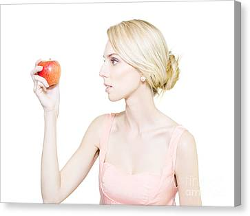Concentration Canvas Print - Thin Undernourished Woman Holding An Apple by Jorgo Photography - Wall Art Gallery