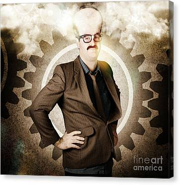 Concentration Canvas Print - Thinking Businessman With Big Brain by Jorgo Photography - Wall Art Gallery