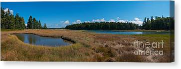 Thompson Island In Maine Panorama Canvas Print