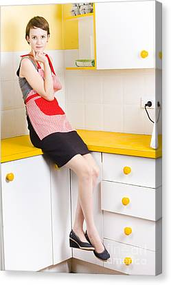 Youthful Canvas Print - Thoughtful Woman In Kitchen by Jorgo Photography - Wall Art Gallery