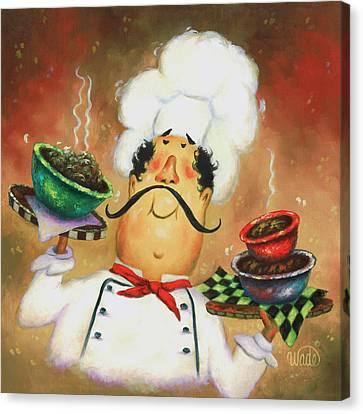 Three Bowl Chef Canvas Print