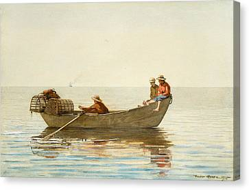 Three Boys In A Dory With Lobster Pots Canvas Print