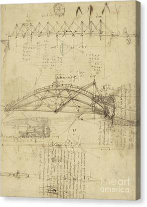 Three Kinds Of Movable Bridge Canvas Print by Leonardo Da Vinci