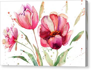 Three Tulips Flowers  Canvas Print