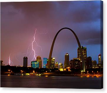 Thunderstorm Over St Louis Canvas Print by Garry McMichael