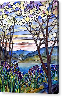 Stained Glass Tiffany Frank Memorial Window Canvas Print by Donna Walsh