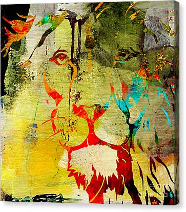Wildlife Art Canvas Print - Lion Beauty And Strength by Marvin Blaine