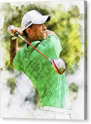 Tiger Woods Hits A Drive  Canvas Print