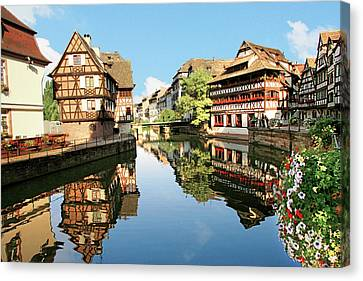 Timbered Buildings, La Petite France Canvas Print by Miva Stock