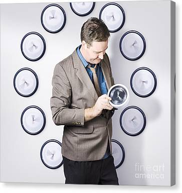 Time Management Business Man Looking At Clock Canvas Print