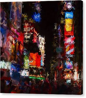 Times Square By Night Canvas Print by Steve K