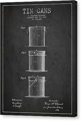Tin Cans Patent Drawing From 1878 Canvas Print by Aged Pixel