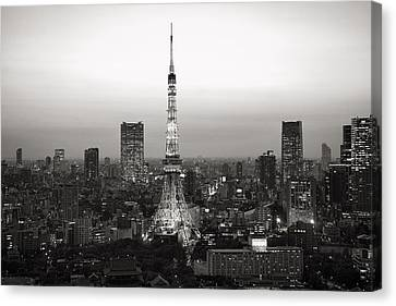 Tokyo Tower At Night Canvas Print by For Ninety One Days
