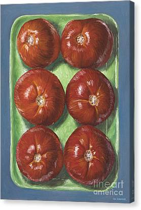 Tomatoes In Green Tray Canvas Print by Jim Zahniser