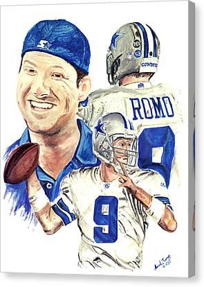 Tony Romo Canvas Print by Israel Torres